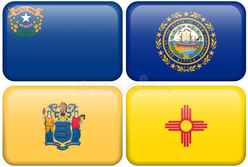 Bandeiras do estado: Nevada, de New-Hampshire, New-jersey, nanômetro ilustração stock