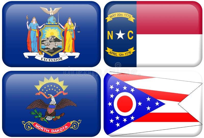 Bandeiras do estado: New York, North Carolina, ND, Ohio ilustração do vetor