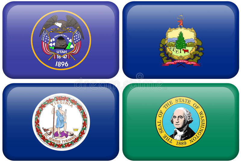 Bandeiras do estado: Utá, Vermont, Virgínia, Washington ilustração stock