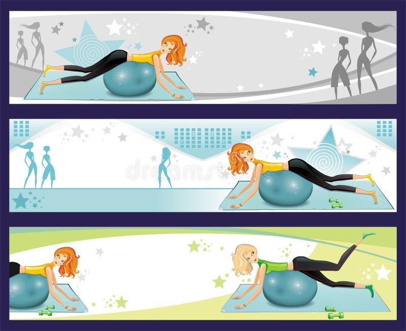 Bandeiras do exercício de Pilates. ilustração stock