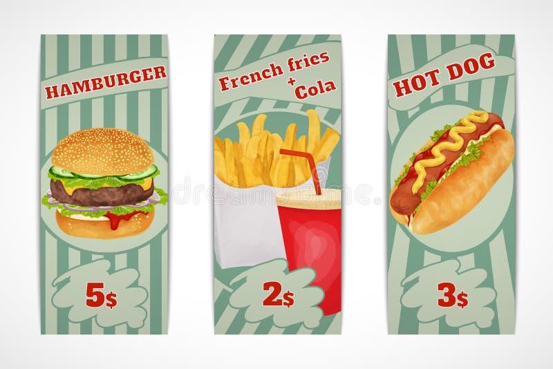Bandeiras do fast food ilustração do vetor