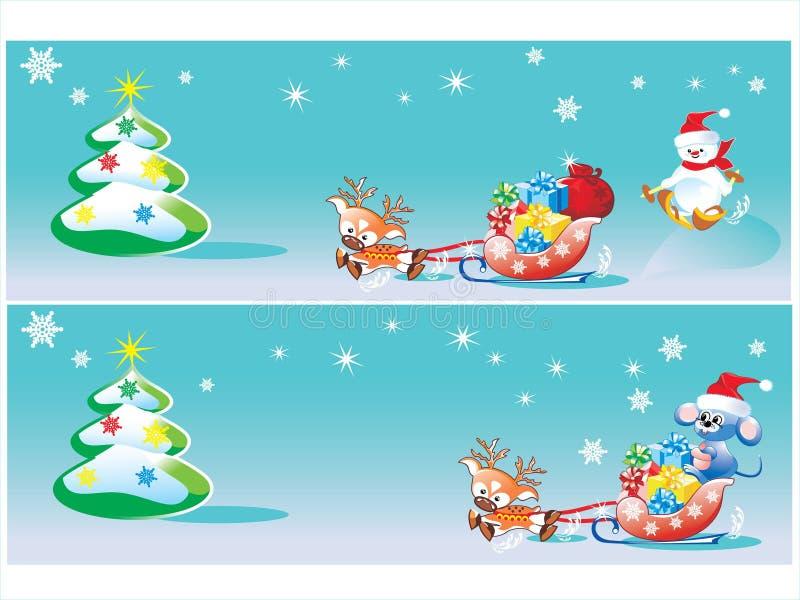 Bandeiras do Feliz Natal ilustração do vetor