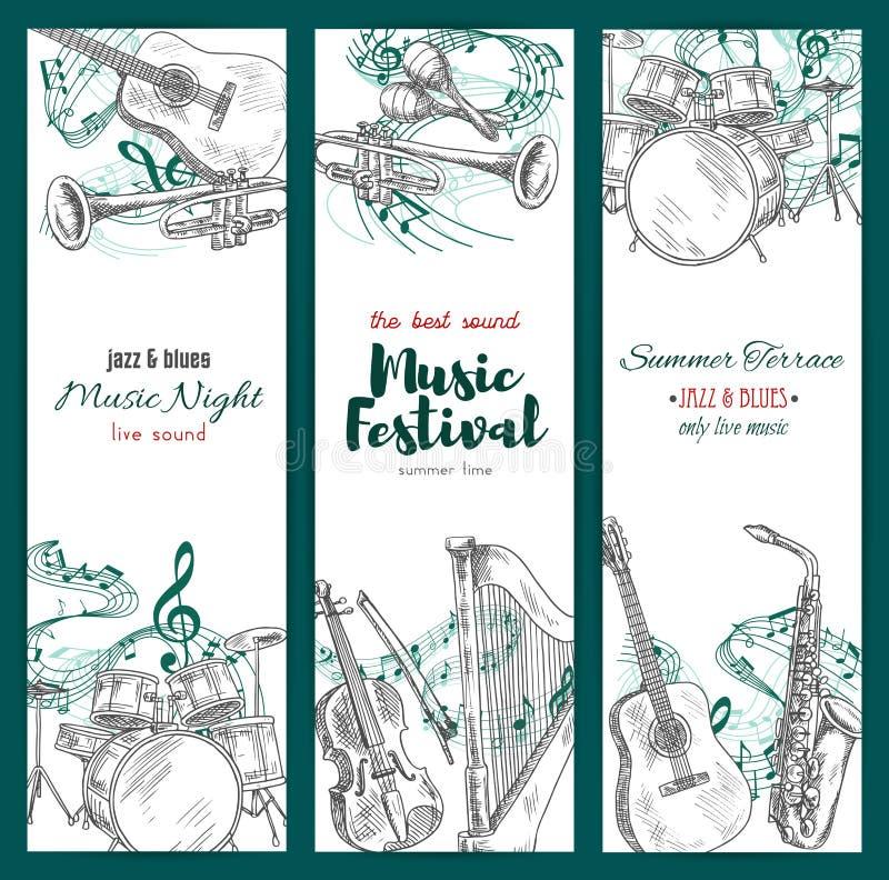 Bandeiras do festival de música jazz, instrumentos musicais ilustração do vetor