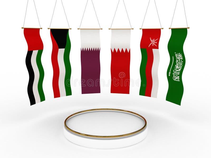 Bandeiras do GCC em torno de uma plataforma fotografia de stock royalty free