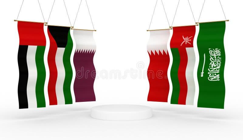Bandeiras do GCC em torno de uma plataforma fotos de stock royalty free