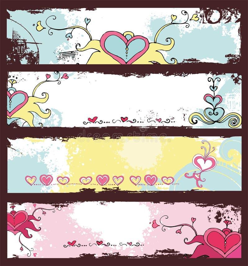 Bandeiras do grunge do dia do Valentim ajustadas ilustração royalty free