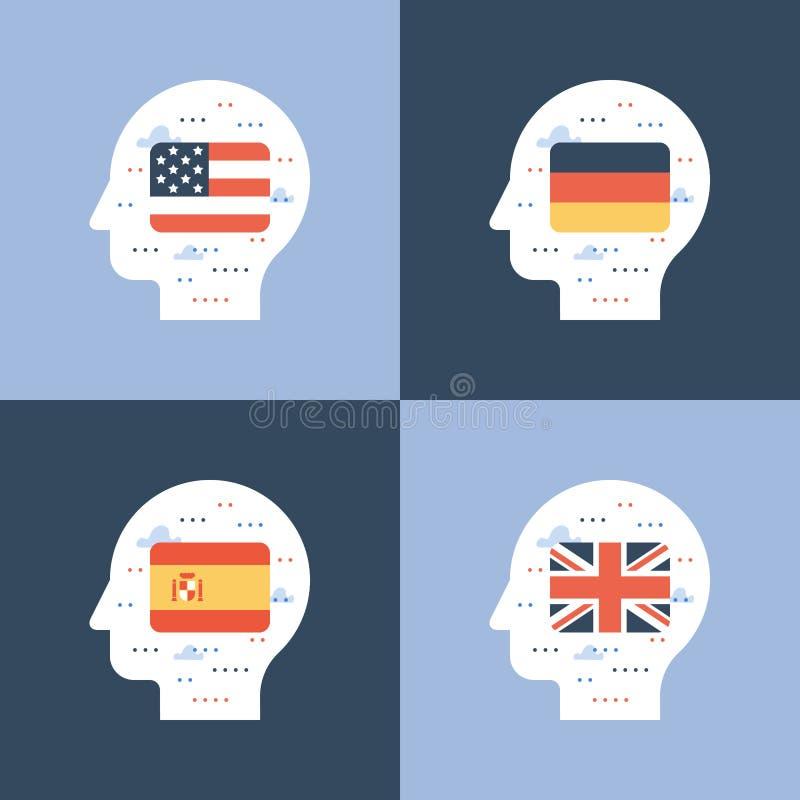 Bandeiras do inglês, as espanholas e as alemãs, aprendendo a língua estrangeira, educação internacional, troca do estudante ilustração stock