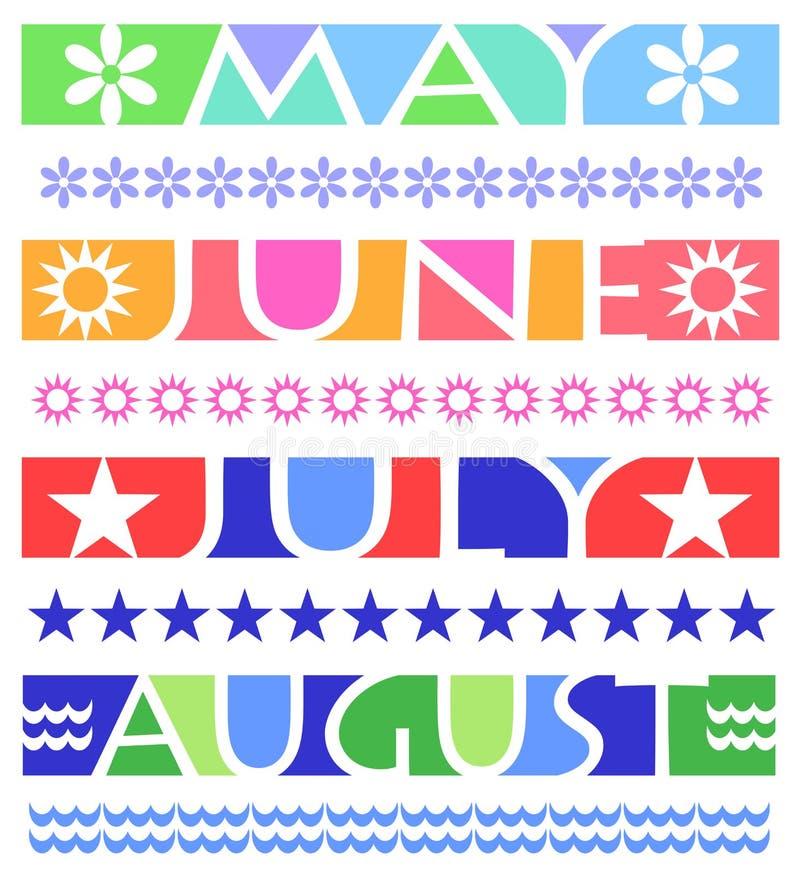 Bandeiras do mês e beiras/eps ilustração do vetor
