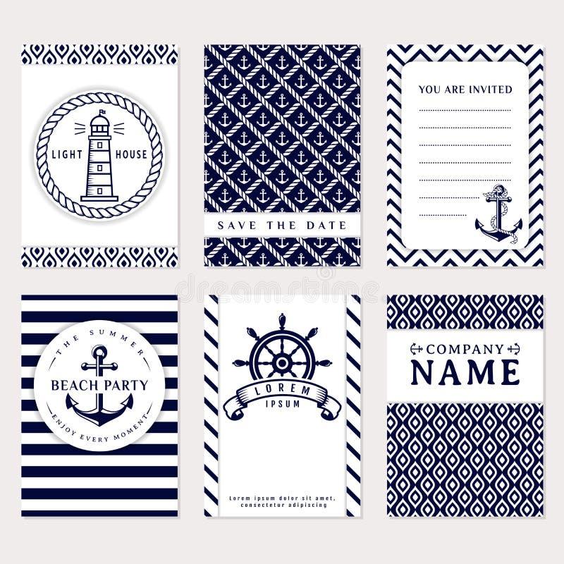 Bandeiras do mar Moldes do cartão do vetor ilustração do vetor
