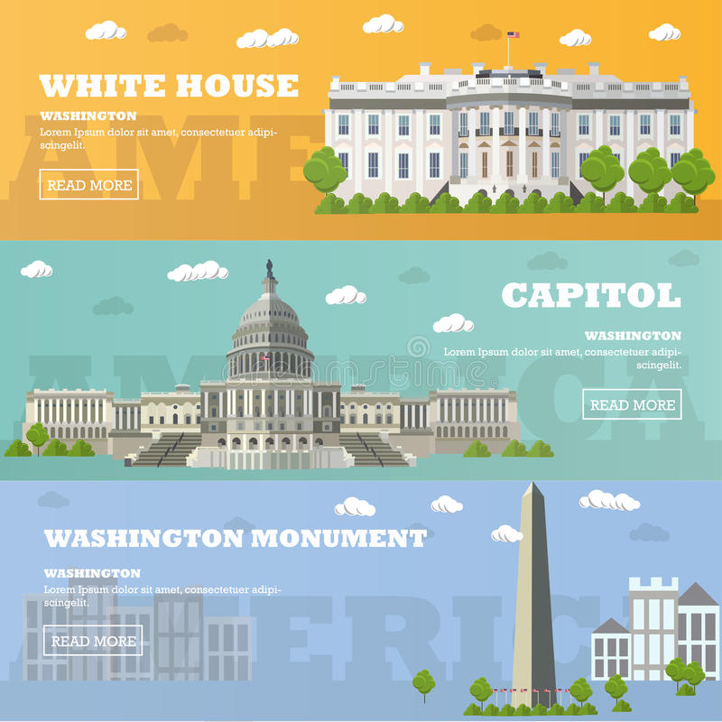 Bandeiras do marco do turista do Washington DC Ilustração do vetor Capitólio, casa branca ilustração stock