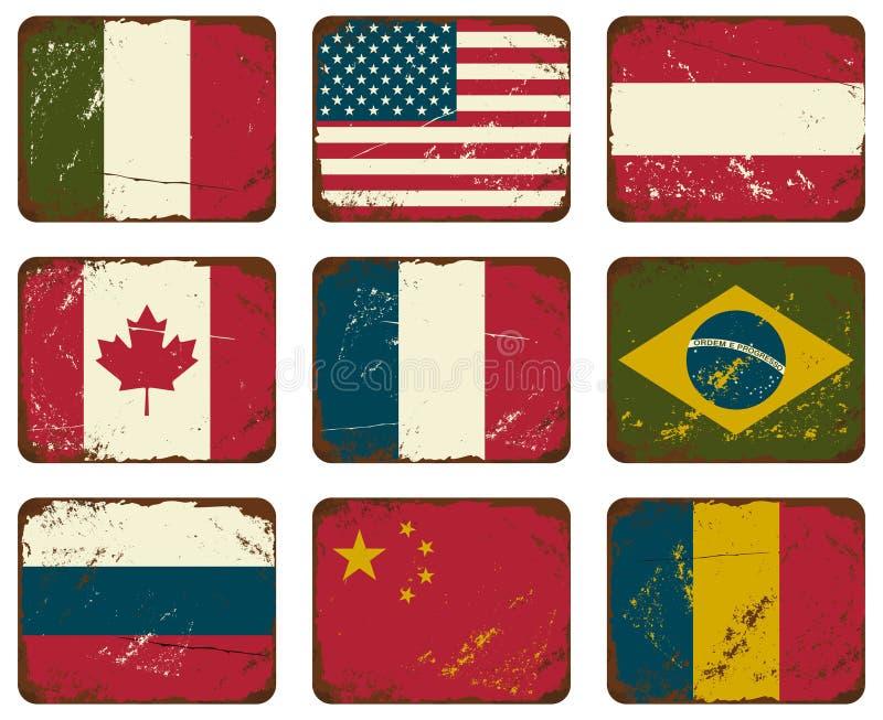 Bandeiras do metal do vintage ilustração royalty free