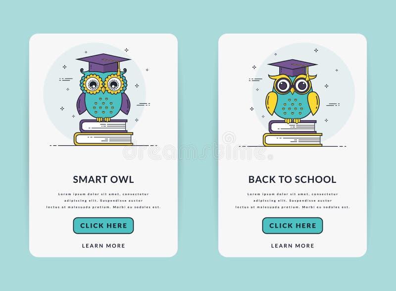 Bandeiras do molde ou da Web de UI para o tema da educação ilustração stock