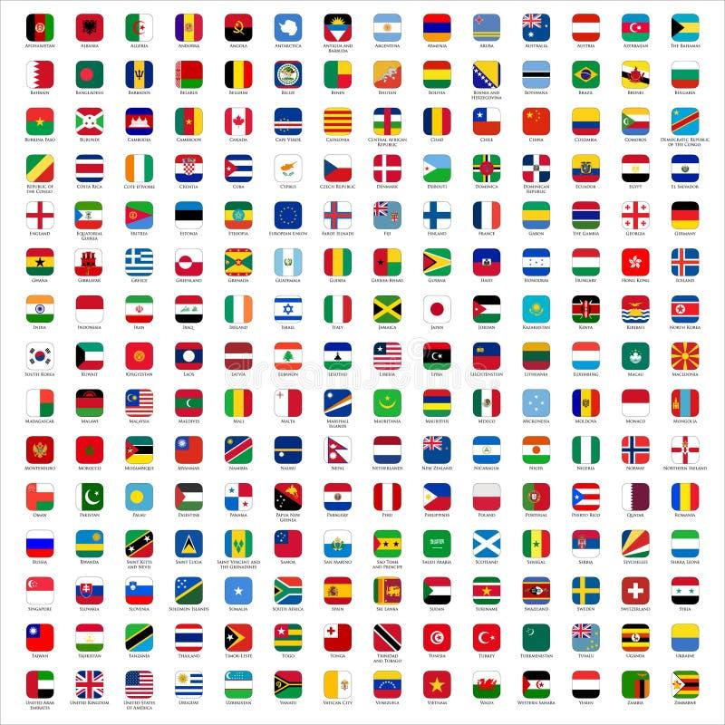 Bandeiras do mundo - ícones ilustração do vetor