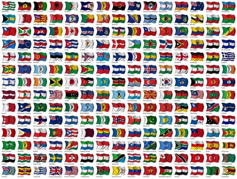 Bandeiras do mundo ajustadas ilustração stock