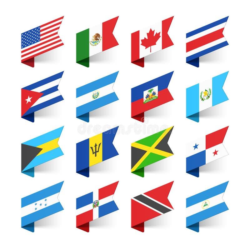 Bandeiras do mundo, America do Norte ilustração royalty free