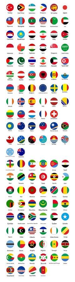 Bandeiras do mundo Bandeiras de Europa, Ásia, África Coleção do projeto do botão da bandeira ilustração royalty free