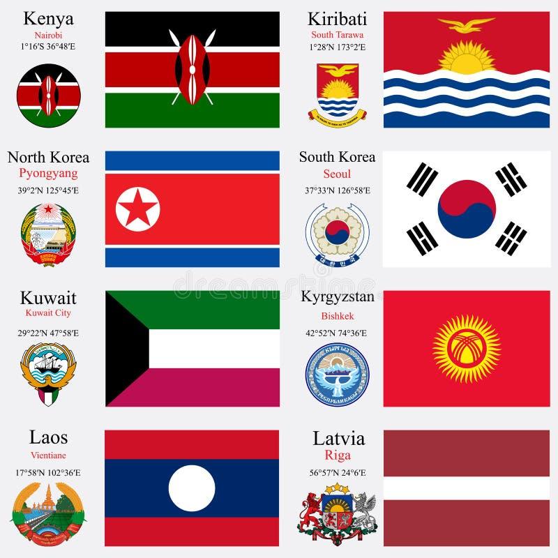 As bandeiras e os capitais do mundo ajustaram 12 ilustração royalty free