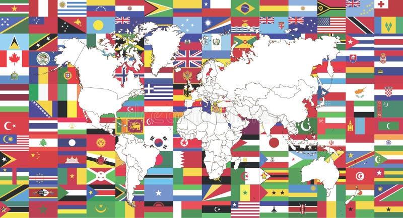 Bandeiras do mundo e mapa do mundo ilustração stock