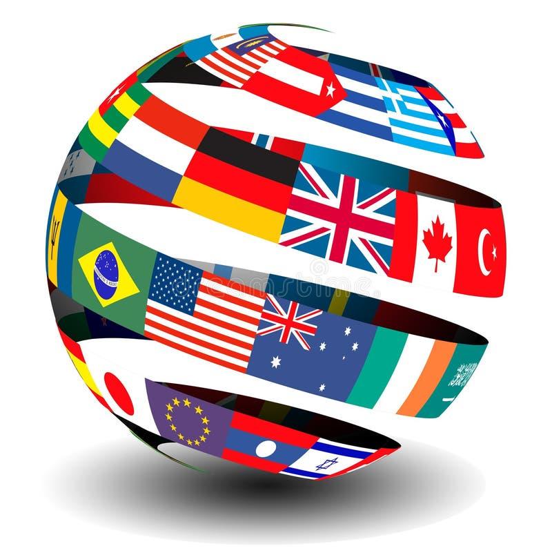 Bandeiras do mundo em um globo/esfera ilustração do vetor