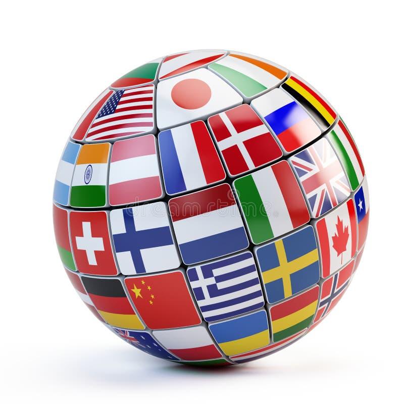 Bandeiras do mundo no globo ilustração do vetor