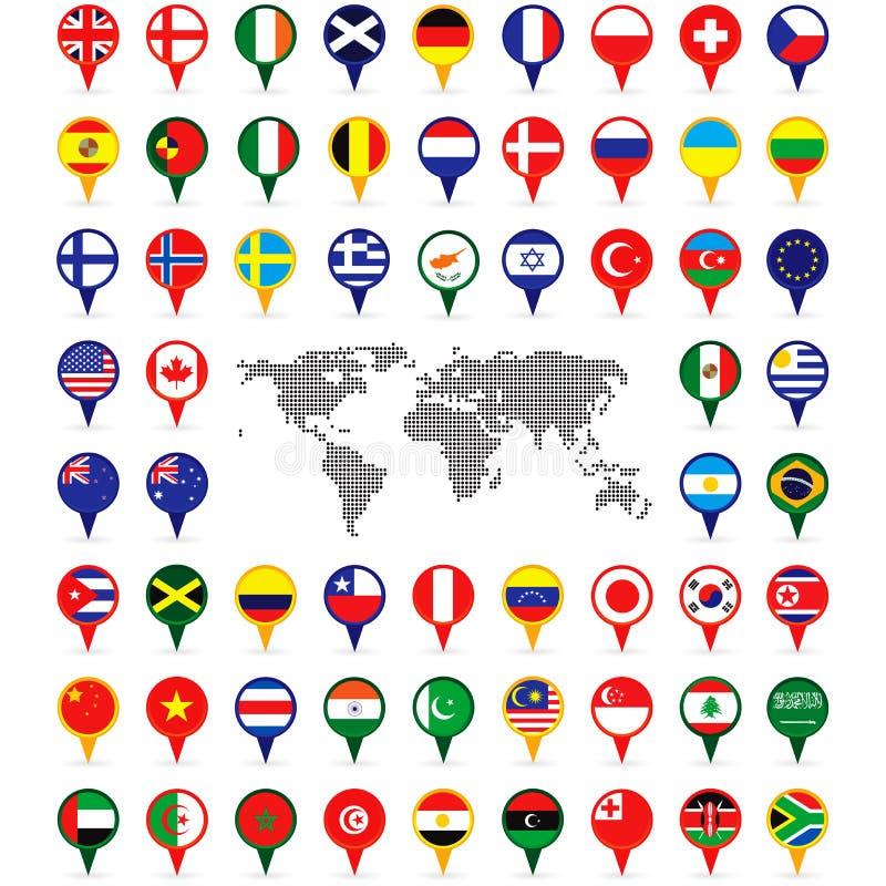 Bandeiras do mundo nos pinos do mapa ilustração do vetor