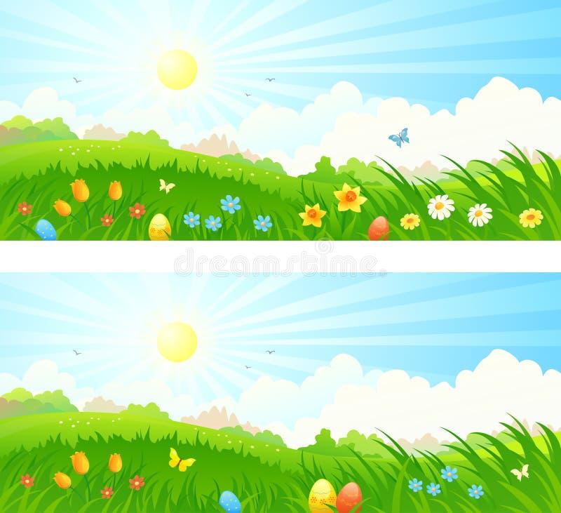 Bandeiras do nascer do sol da Páscoa ilustração royalty free