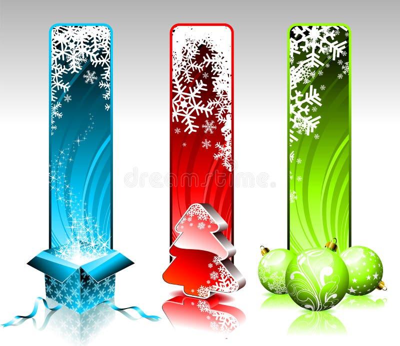 Bandeiras do Natal. ilustração stock