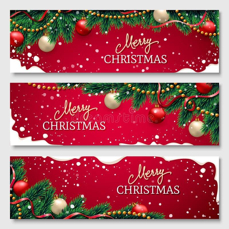 Bandeiras do Natal ajustadas ilustração stock