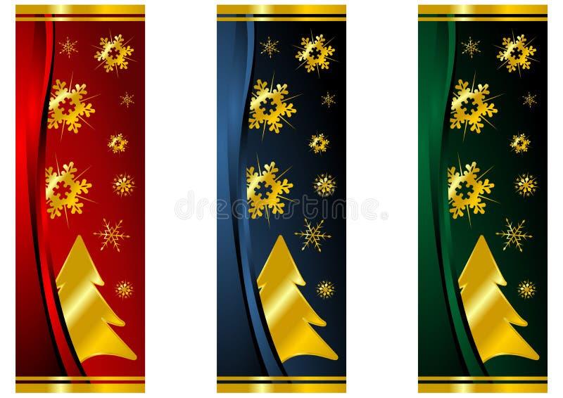 Bandeiras do Natal com árvores ilustração royalty free