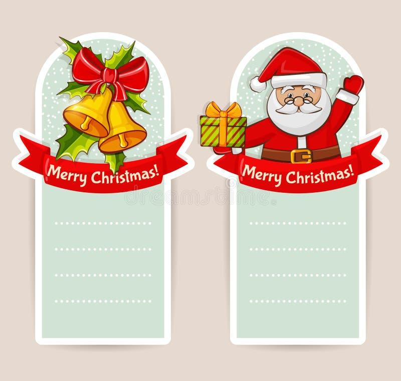 Bandeiras do Natal com espaço para o texto Grupo do vetor ilustração royalty free