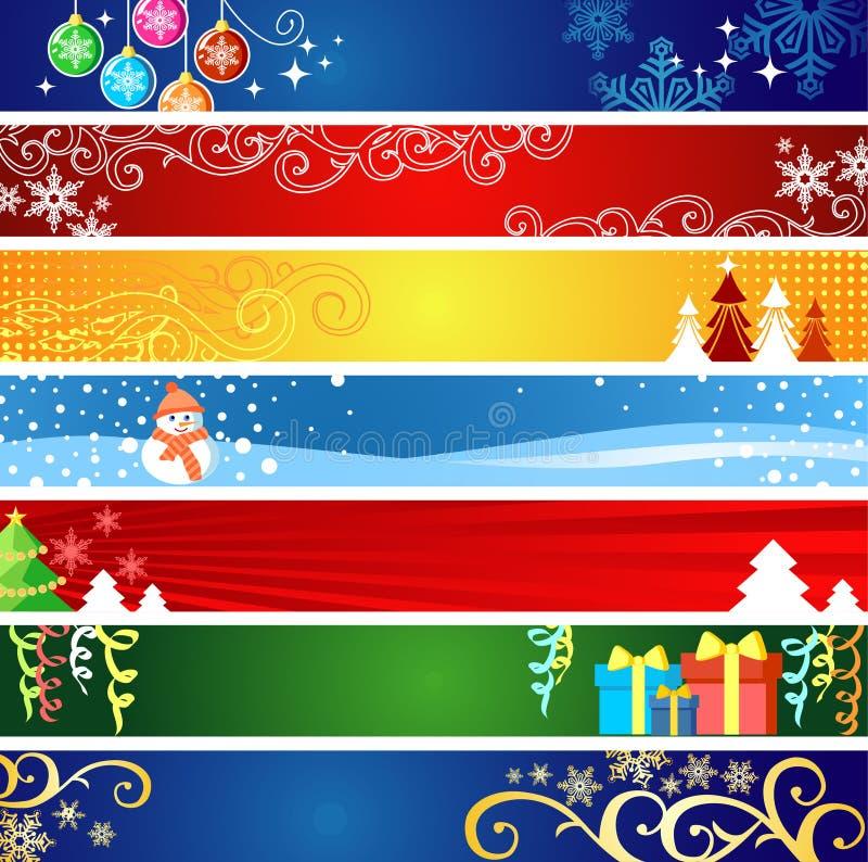 Bandeiras do Natal com espaço para seu texto ilustração do vetor