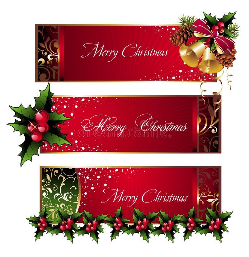 Bandeiras do Natal com pinecone, sinos e azevinho ilustração do vetor
