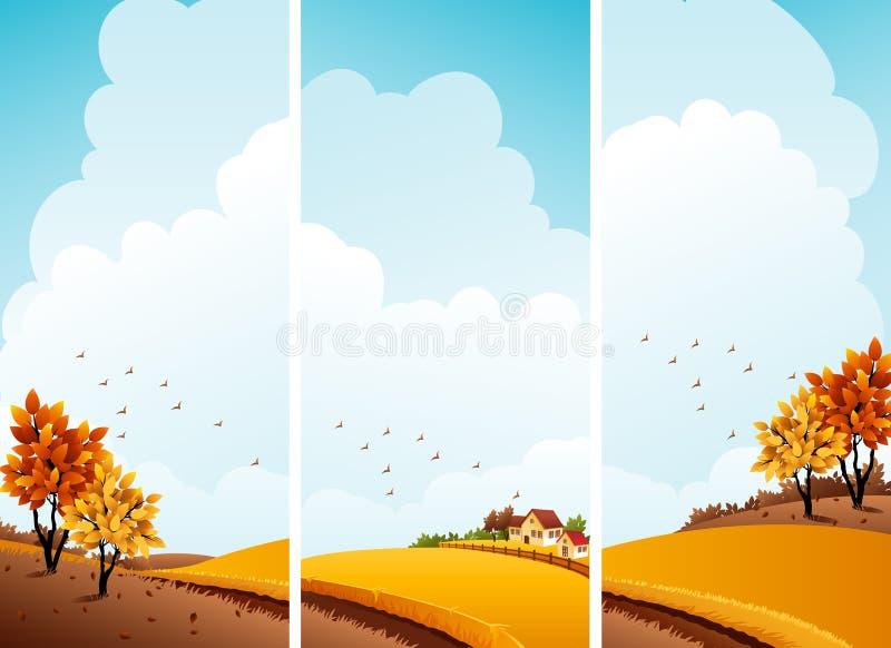 Bandeiras do outono ilustração stock