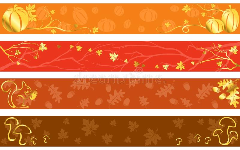 Bandeiras do outono em cores mornas ilustração stock