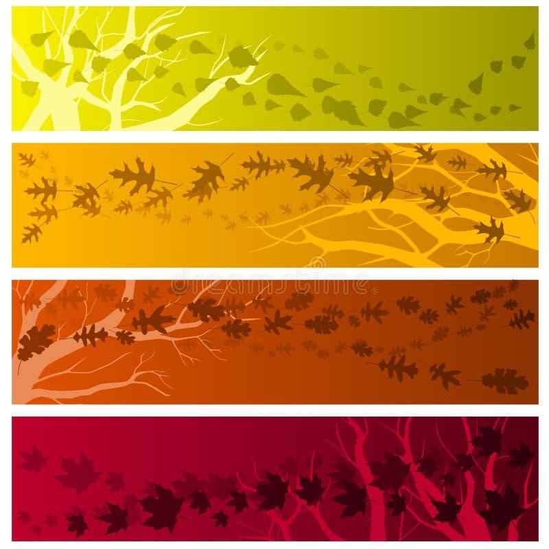Bandeiras do outono horizontais ilustração stock