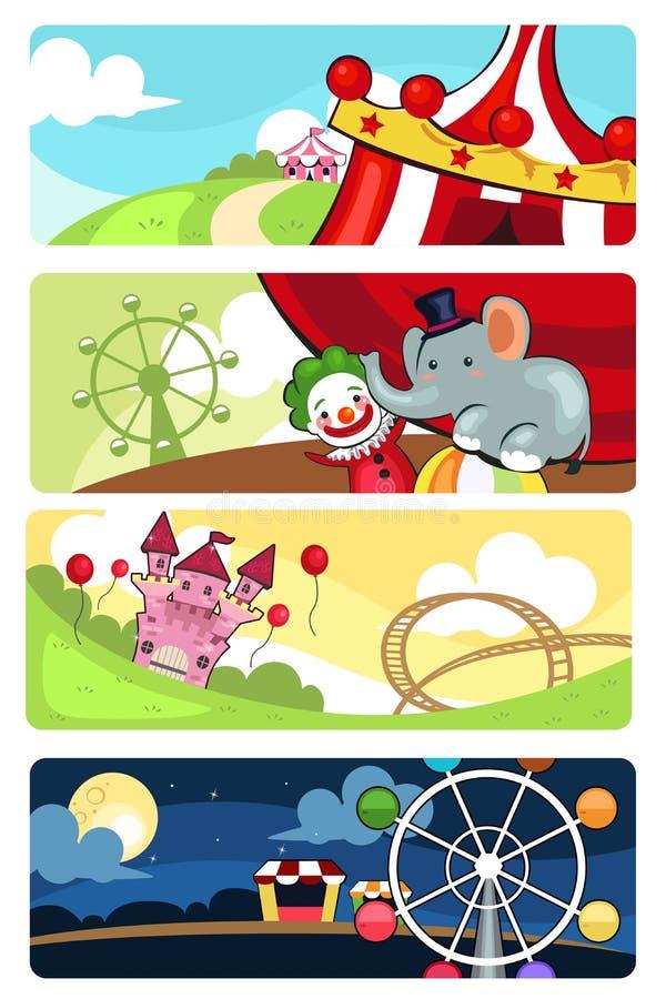 Bandeiras do parque de diversões ilustração royalty free