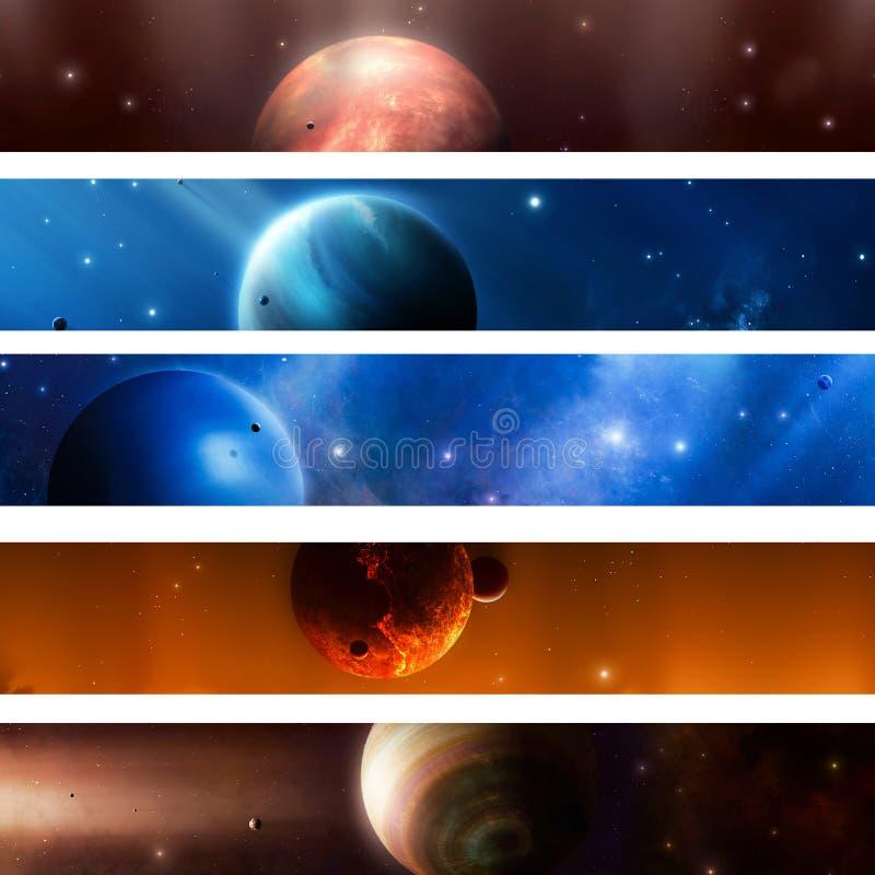Bandeiras do planeta do espaço ilustração royalty free
