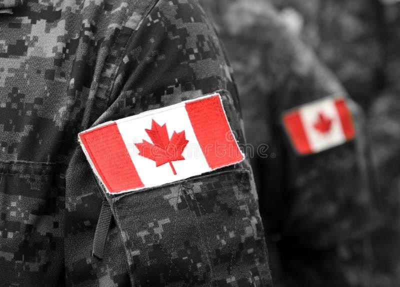 Bandeiras do remendo de Canadá no braço dos soldados Tropas canadenses imagens de stock