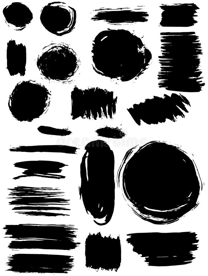 Bandeiras do respingo das manchas ajustadas Textura de Grunge ilustração do vetor