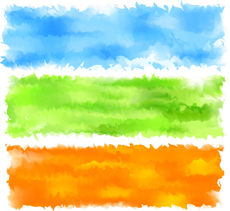 Bandeiras do sumário da aguarela da mola. ilustração royalty free