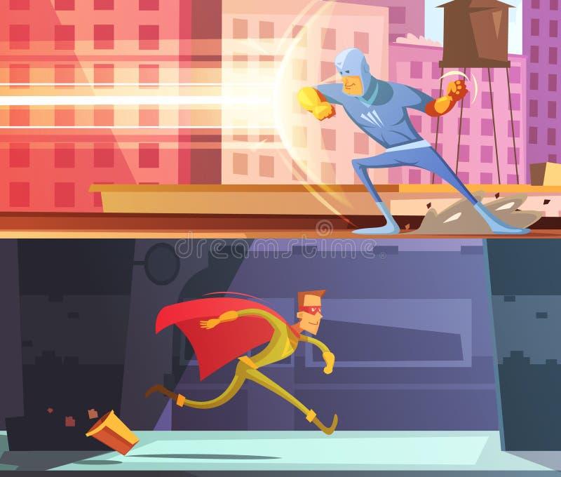 Bandeiras do super-herói ajustadas ilustração stock