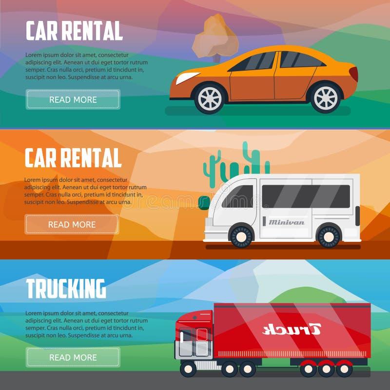 Bandeiras do transporte por caminhão e do aluguer de carros ilustração stock