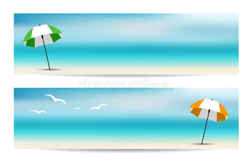 Bandeiras do verão com um guarda-chuva ilustração royalty free