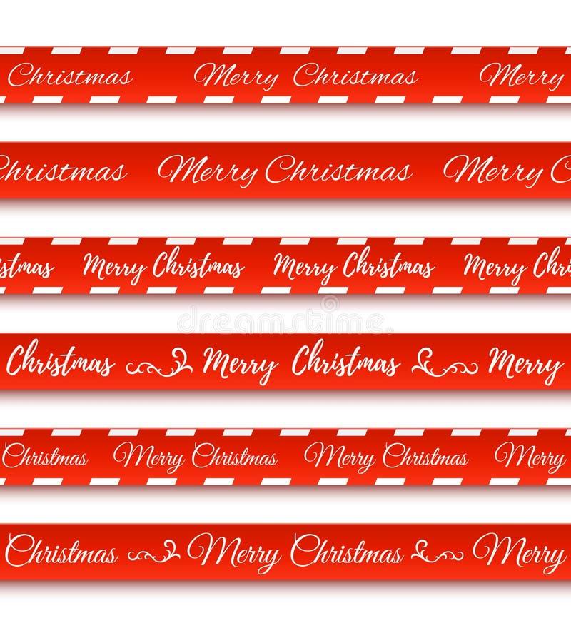 Bandeiras do vermelho do Feliz Natal Grupo de fitas de advertência ilustração stock