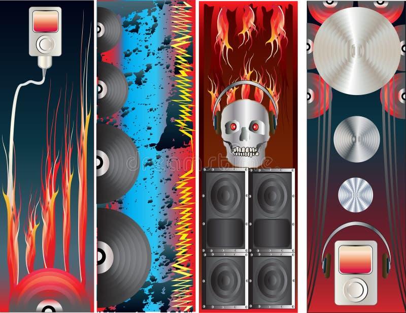Bandeiras do vertical do Download da música ilustração do vetor