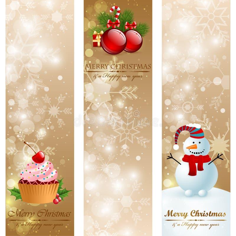 Bandeiras do vertical do vintage do Natal. ilustração do vetor