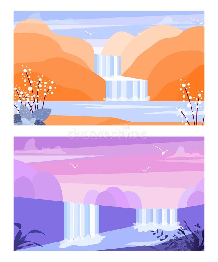 Bandeiras do vetor ajustadas com cascata da cachoeira Paisagem poligonal Ilustra??o do vetor do fundo ilustração royalty free