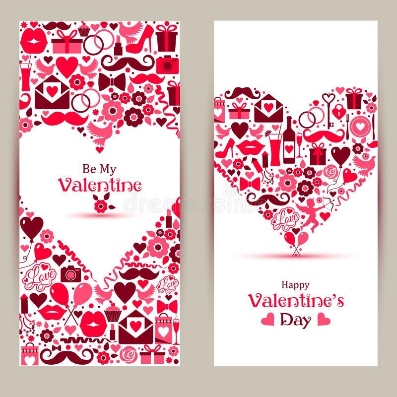 Bandeiras do vetor ajustadas de Valentine Day ilustração do vetor