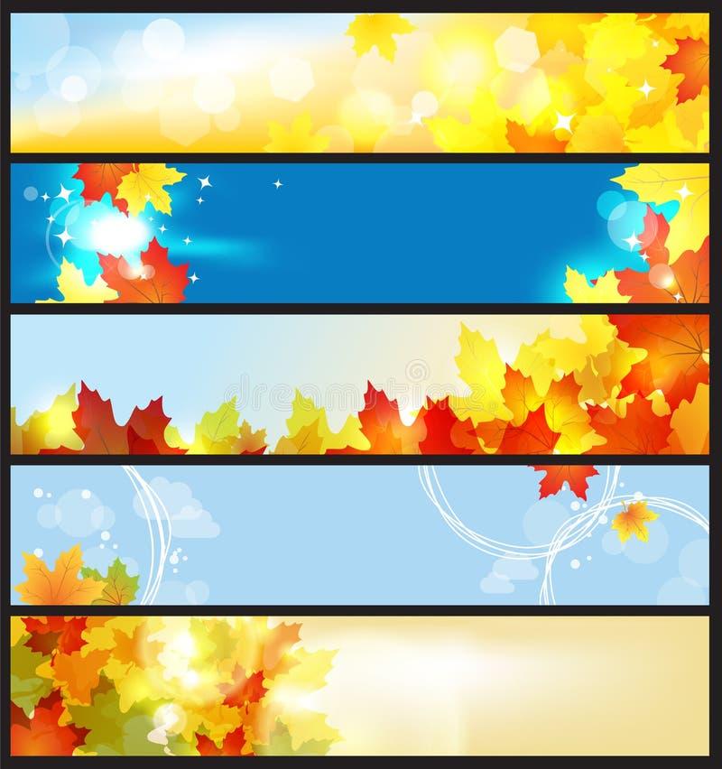 Bandeiras do vetor ajustadas/dia bonito do outono ilustração do vetor
