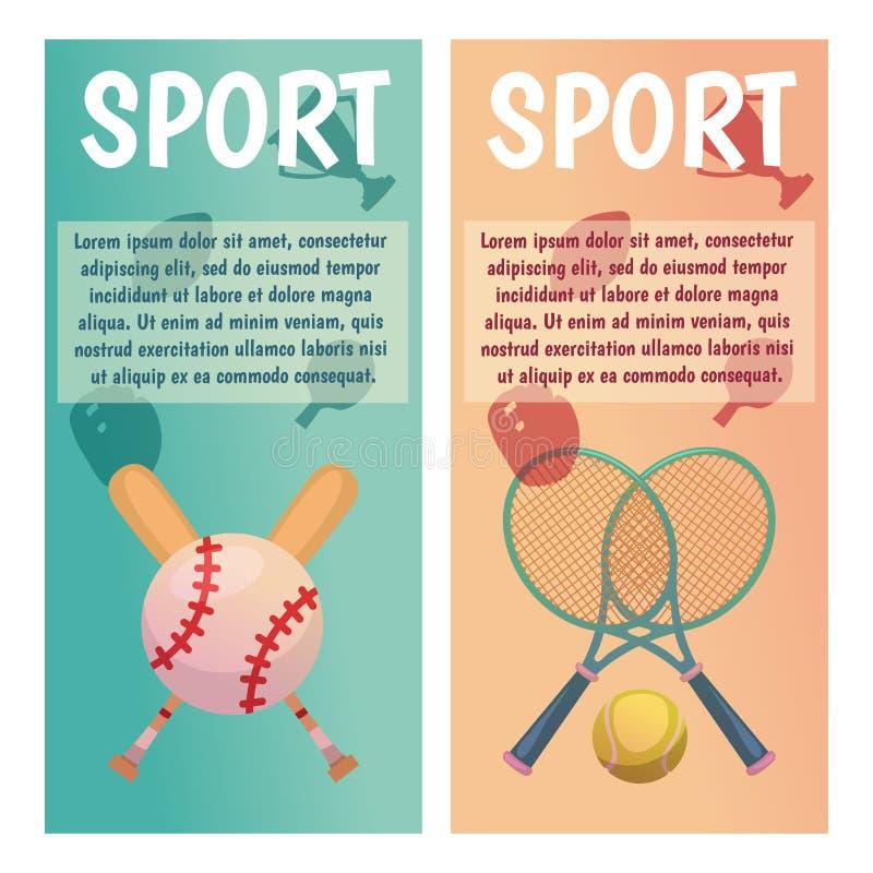 Bandeiras do vetor com ícones do esporte tênis baseball Ilustração lisa ilustração royalty free
